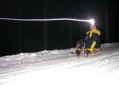 Night time sledge ride